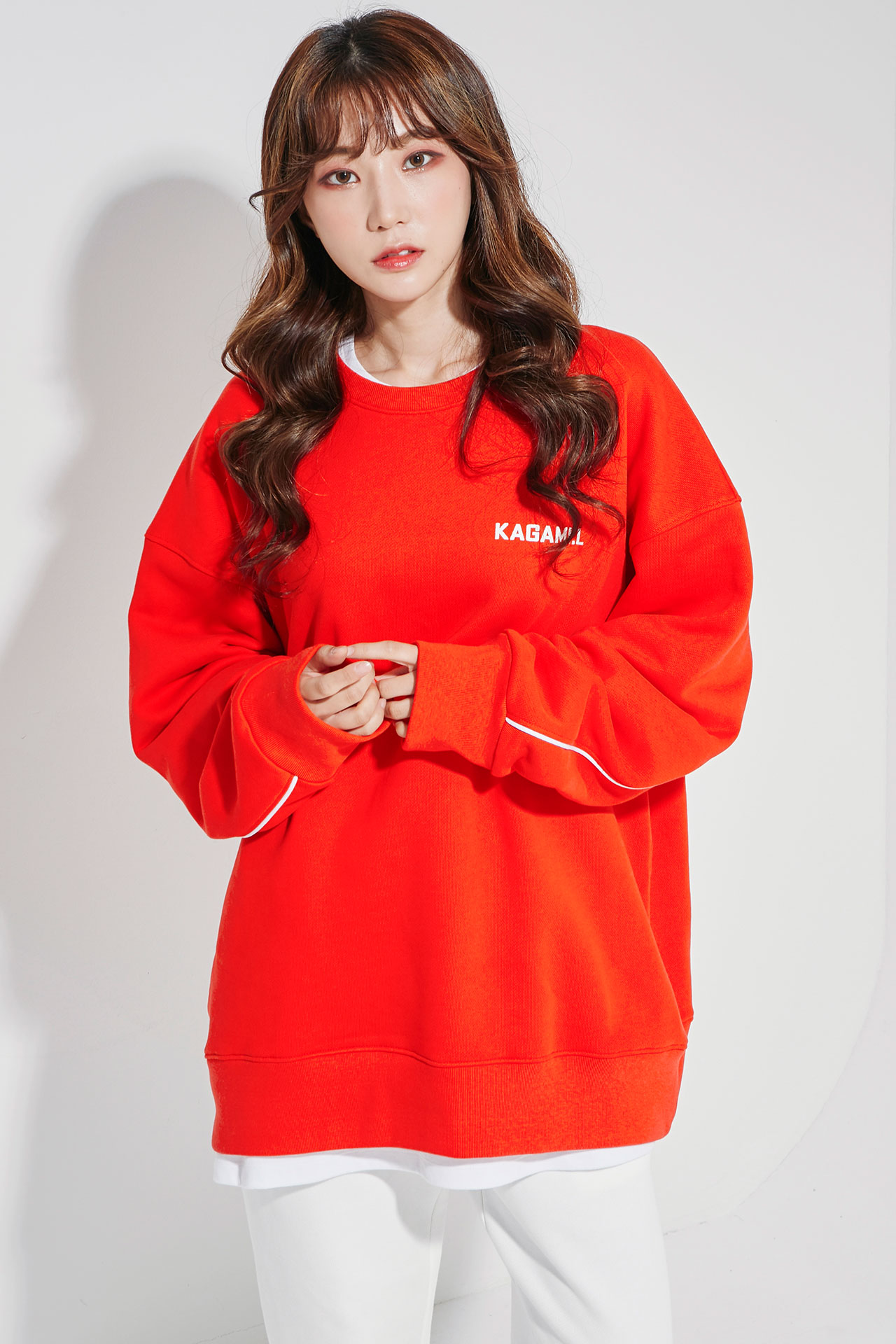 Oversize Back Line Sweat shirt Red
