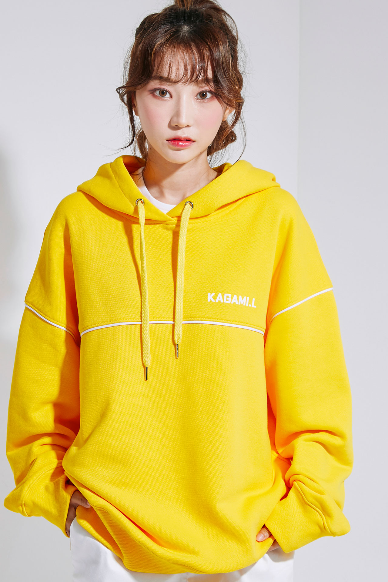 Oversize Front Line Hoodie Yellow