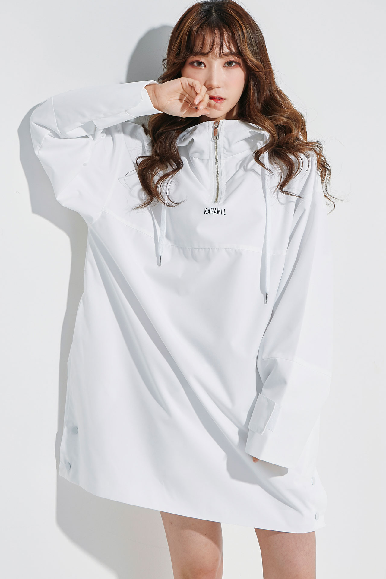 Oversize Anorack Hoodie Onepiece White